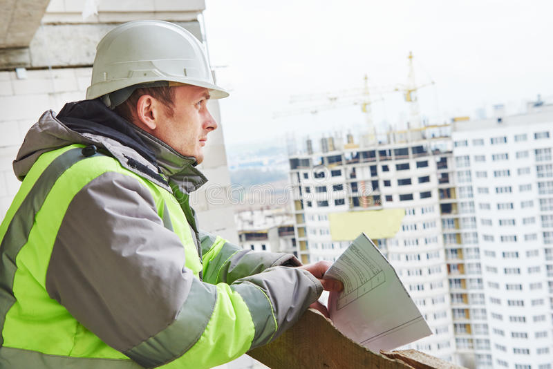Brygadier budowy inżyniera pracownika portret zdjęcie stock