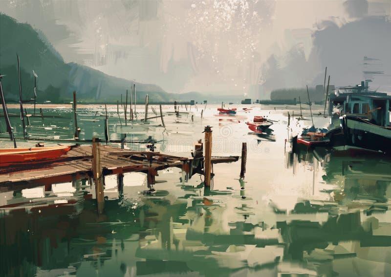 Brygga och fiskebåtar på hamnen stock illustrationer