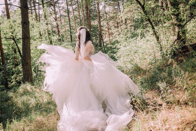 Brygga skogarnas verksamhet fantastiska klädbröllop royaltyfria foton