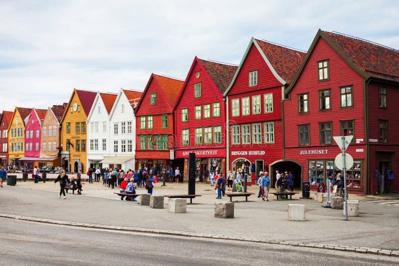 Bryggen dok w Bergen obrazy stock