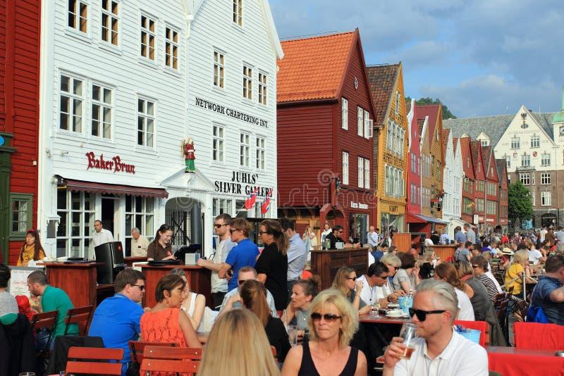 Bryggen em Bergen fotografia de stock