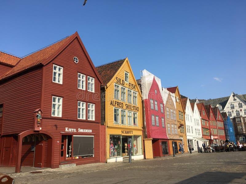 Bryggen en Bergen foto de archivo