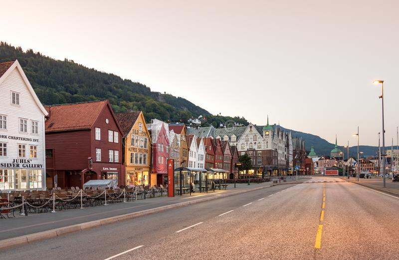 The Bryggen Hanseatic Wharf of Bergen waterfront empty of people at sunrise at summer, Norway royalty free stock photos