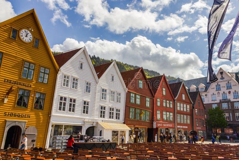 Bryggen historiska buidings i Bergen, Norge royaltyfria foton