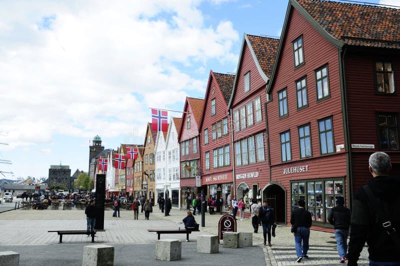 Bryggen historiska byggnader, Bergen - Norge royaltyfria foton