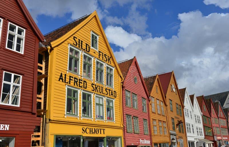Bryggen i Bergen, Norge arkivbild