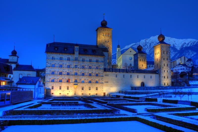 brygu pałac stockalper Switzerland zdjęcie stock