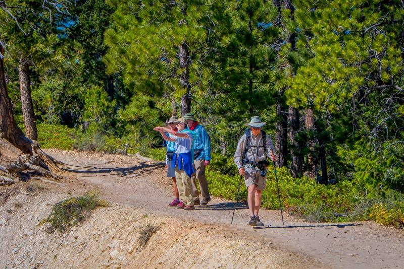 BRYKA jar, UTAH, CZERWIEC, 07, 2018: Widok grupa wycieczkowicze chodzi w piasek drodze w Bryka jaru parku narodowym w Utah fotografia stock