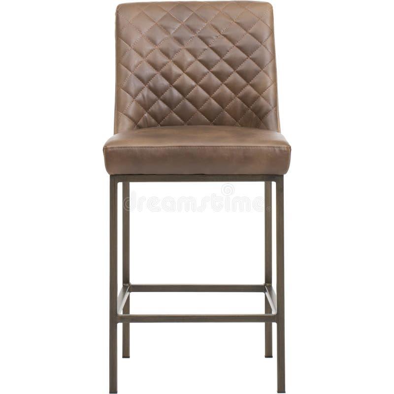 Bryna - möblemang - Sunpan, EIGHLAND som ÄTER MIDDAG STOL - den MÄSSINGSANTIKVITETEN - MÖRKA GREY FABRI, stångstol med kudden med royaltyfri foto