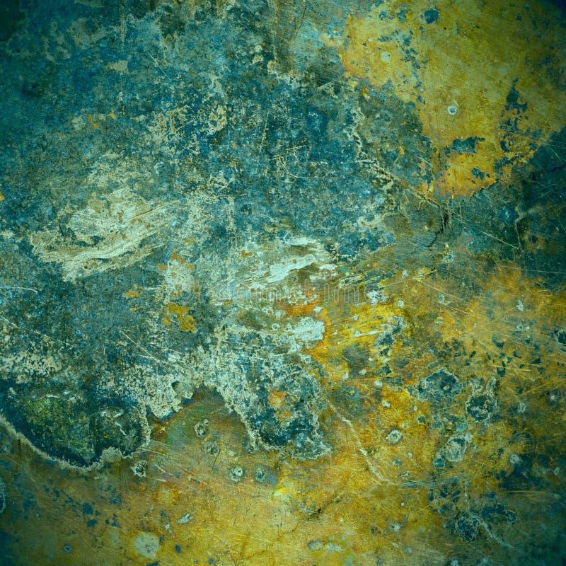 Bryna och göra grön gammal bakgrund för rostmetallplattan royaltyfri fotografi