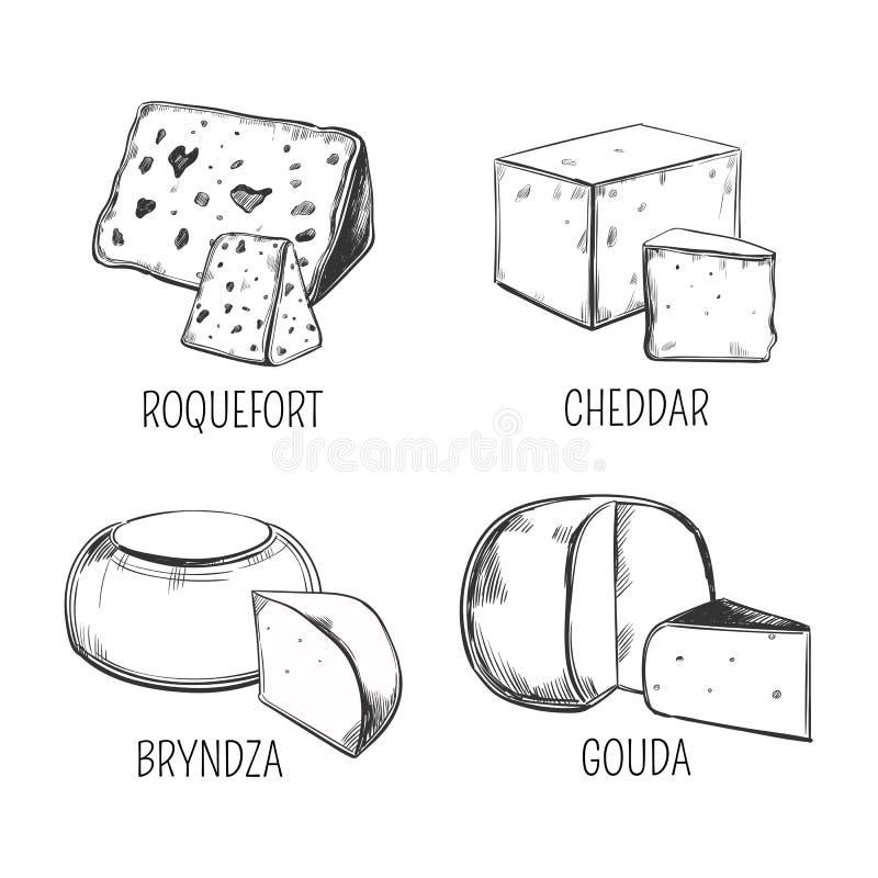 Bryndza och roquefort-, cheddar- och goudaost stock illustrationer