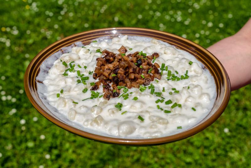 Bryndzove halusky - slovak national food. Slovak potato dumplings with sheep cheese called Bryndzove halusky - national food of Slovakia stock image