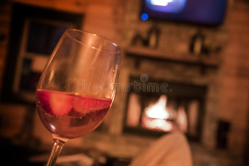 Bryson city cabin north carolina sky fireplace wine sangria champagne strawberries. Bryson city cabin north carolina sky rocking love hug wine sangria champagne royalty free stock photos