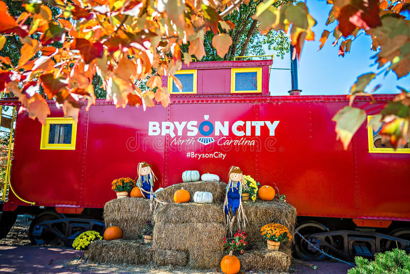 Bryson city, NC October 23, 2016 - Great Smoky Mountains Train r. Ide city scenes stock photography