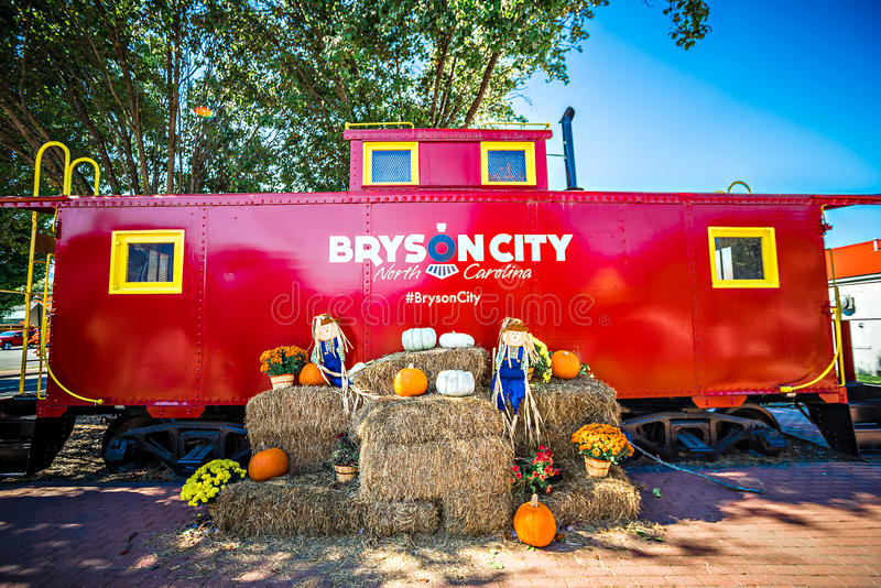 Bryson city, NC October 23, 2016 - Great Smoky Mountains Train r. Ide city scenes royalty free stock photography