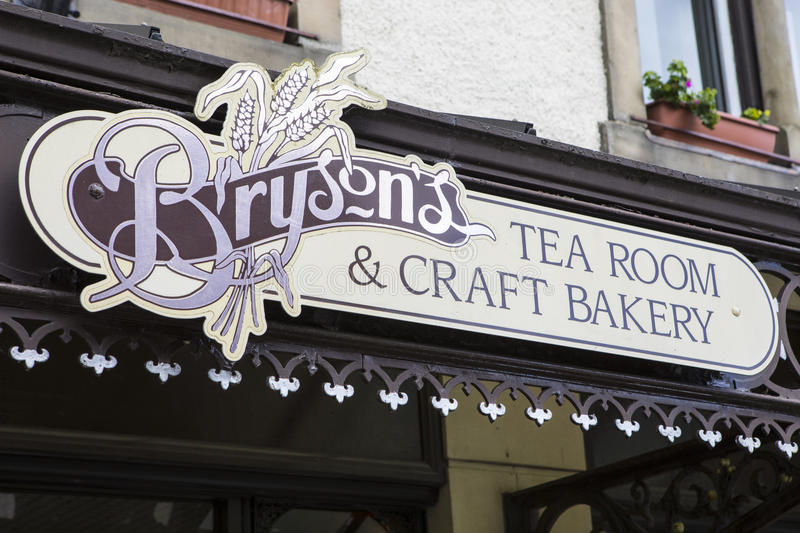 Brysons Tea Room in Keswick. KESWICK, UK - APRIL 7TH 2017: The sign above the main entrance to Brysons Team Room and Craft Bakery in Keswick in Cumbria, UK, on royalty free stock photography