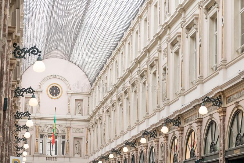 Bryssel/Belgium-01 02 19: Galerie de la reine Bryssel galleri av drottningen royaltyfri foto