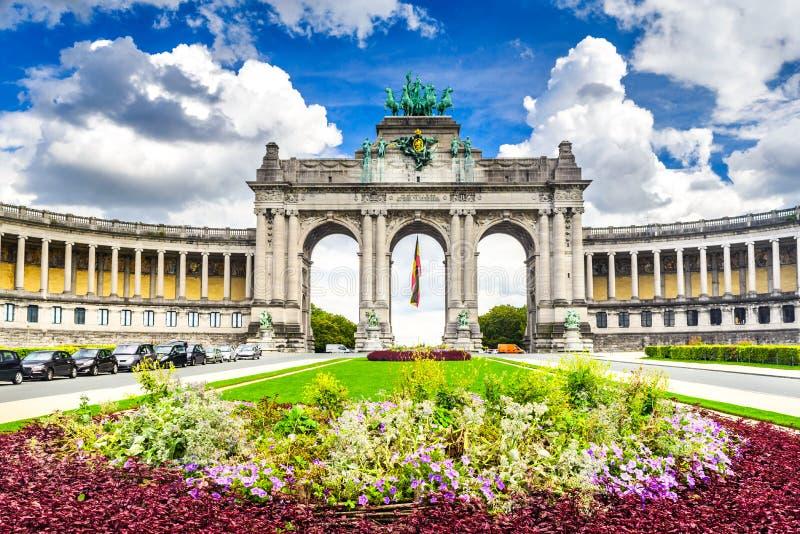 Bryssel Bruxelles, Belgien - Cinquantenaire royaltyfri bild