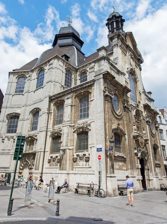 Bryssel - den barocka kyrkliga Notre Dame du Bon Secource royaltyfri foto