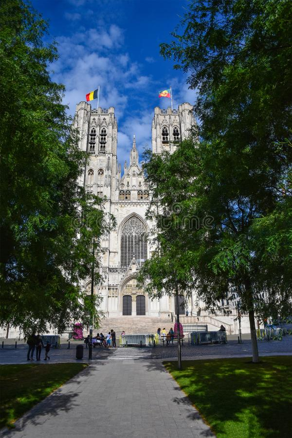 Bryssel domkyrka av St Michael och St Gudula arkivfoton