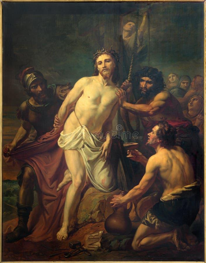 Bryssel - Jesus Stripped av hans plagg Målarfärg av Jean Baptiste van Eycken (1809 - 1853) i Notre Dame de la Chapelle arkivfoto