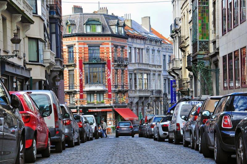 Bryssel Stadsgata Redaktionell Arkivfoto