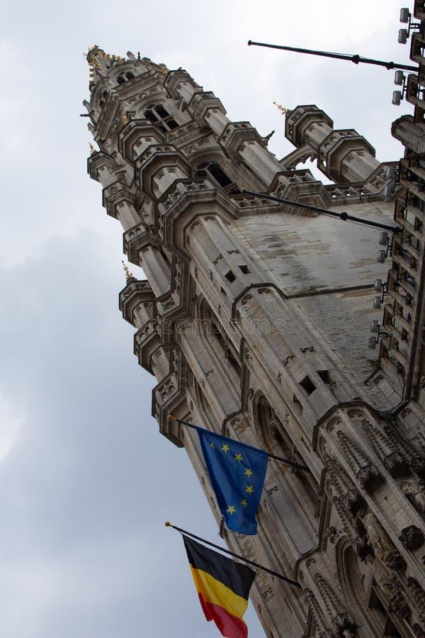Bryssel stadshus, diagonal perspektivsikt _ arkivfoto