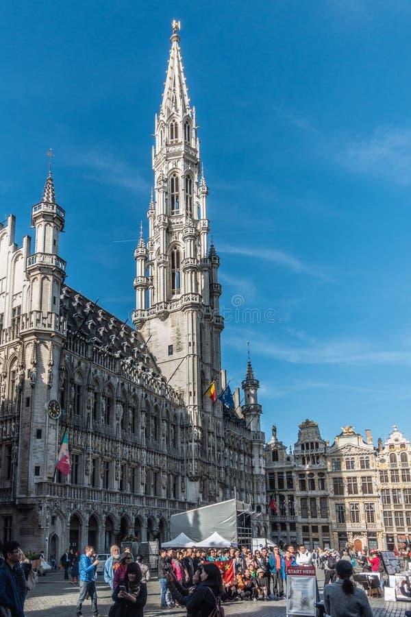 Bryssel stadshus på Grand Place, Belgien royaltyfri fotografi