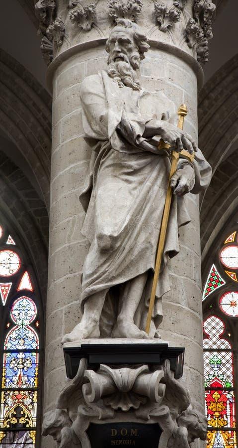 Bryssel - staty av Sanktt Paul aposteln royaltyfria foton