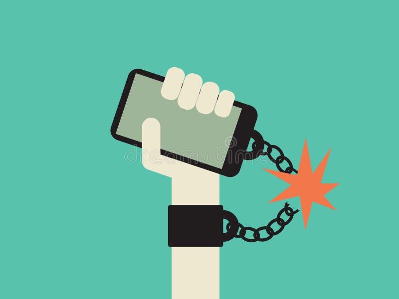 Bryt fritt från smartphonen och begrepp för teknologiböjelsevektor Hand med mobiltelefonen som kedjas fast till den stock illustrationer
