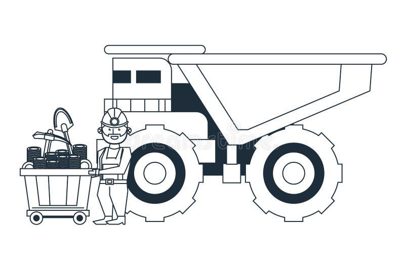 Bryta arbetaren med den stora lastbilen royaltyfri illustrationer