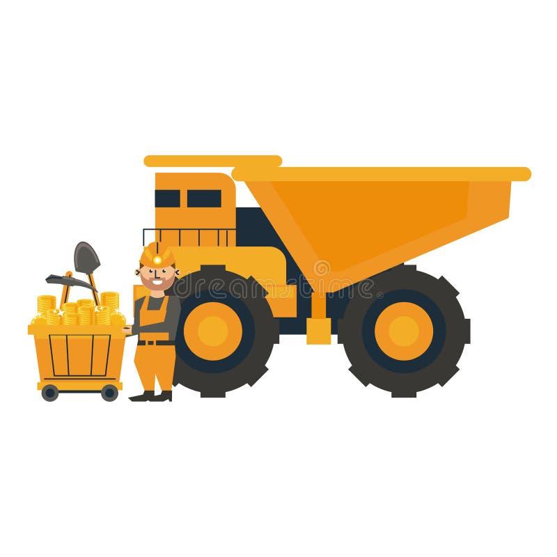 Bryta arbetaren med den stora lastbilen stock illustrationer