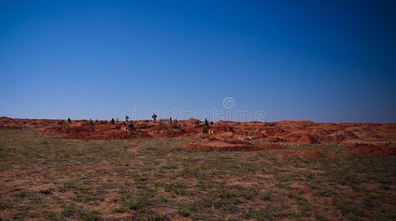 Bryta av ädelstenar, guld och safir Ilakaka Ihosy område, Ihorombe region, Madagascar royaltyfria bilder