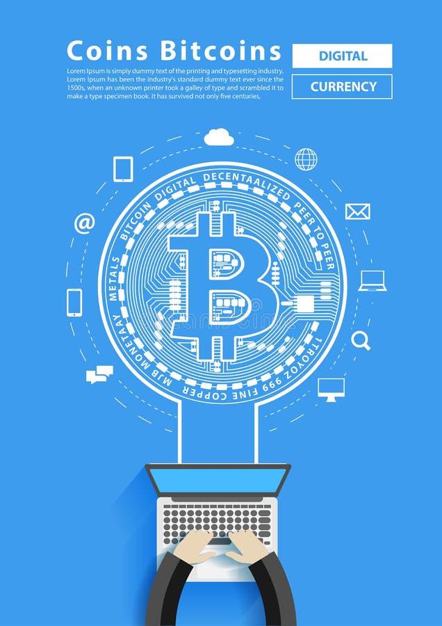 Bryta bitcoin från affärsmannen som arbetar på bärbar datordatoren, Vect royaltyfri illustrationer