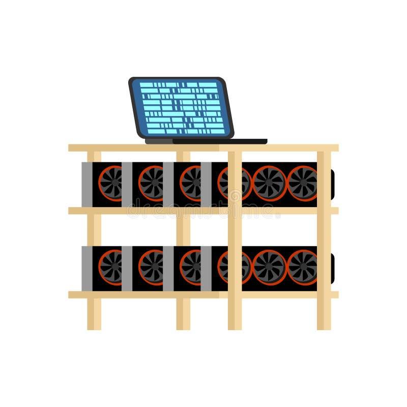 Bryta den isolerade lantgården Hem- bryta rigg GPU Crypto valuta på ho royaltyfri illustrationer