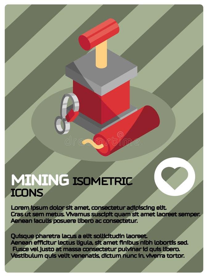 Bryta den isometriska affischen för färg royaltyfri illustrationer