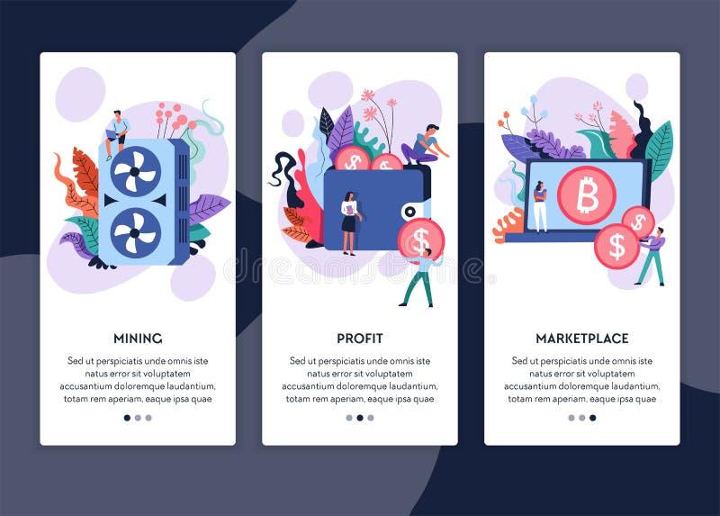 Bryta för Cryptocurrency marknadsplatsbitcoin och vinstonline-webbsidor vektor illustrationer