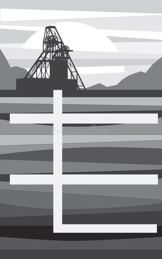 Bryta för malmextraktion, i sammanhanget av royaltyfri illustrationer