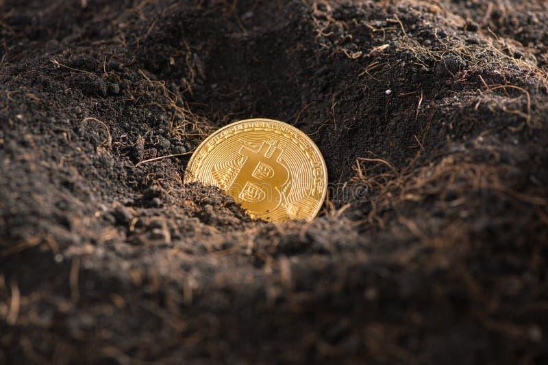 Bryta guld- Bitcoins Faktiskt cryptocurrencybegrepp arkivfoton