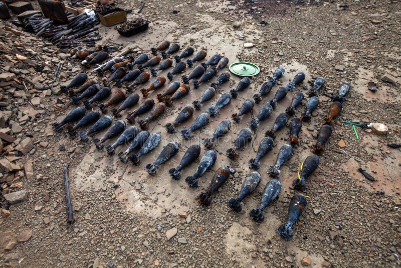 Bryta laddnings-, krighandlingefterdyning, den Ukraina och Donbass konflikten royaltyfri foto