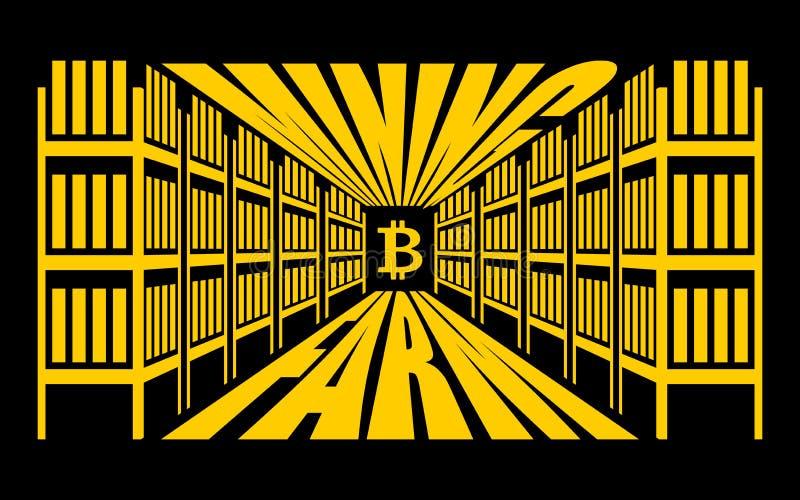 Bryta lantgården Extraktion av Cryptocurrency Ställningsgpu teknologi royaltyfri illustrationer