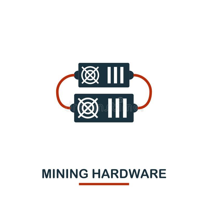 Bryta maskinvarusymbolen Idérika två färger planlägger från crypto valutasymbolssamling Enkel pictogram som bryter maskinvarusymb stock illustrationer