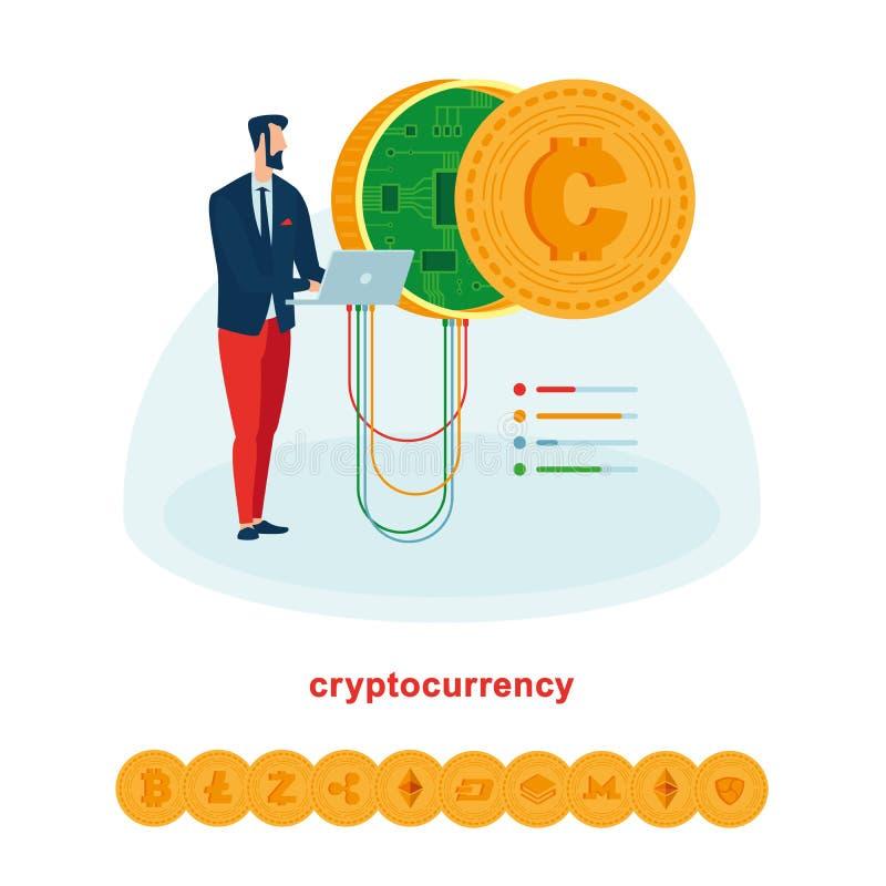 Bryta och arbeten med cryptocurrencies liksom bitcoin och ethereum stock illustrationer
