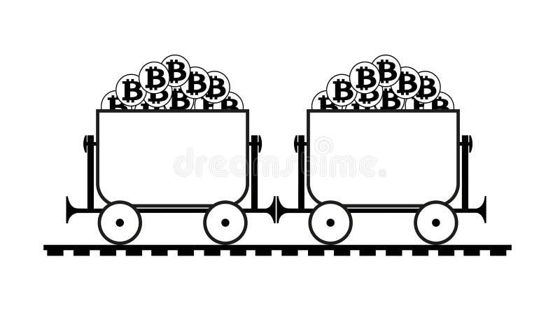 Bryta spårvagnen med bitcoin royaltyfri illustrationer