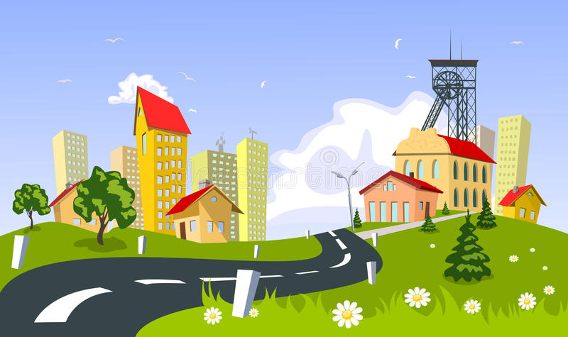 bryta town stock illustrationer
