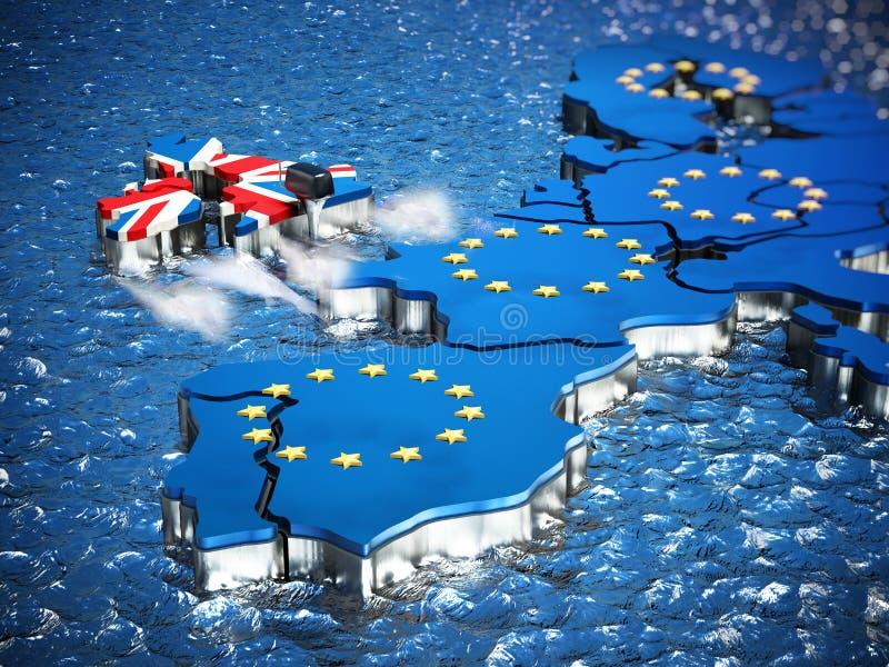 Brytania mapa z łódkowatym silnikiem opuszcza Europejskiego zjednoczenie ilustracja 3 d ilustracji