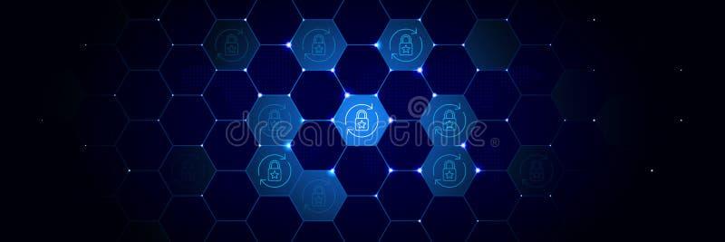 Brytningen symbol för dataskydd från projekt för allmänna data ställde in i det teknologiskt stock illustrationer
