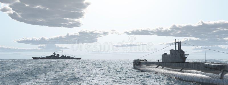 Brytyjska łódź podwodna i niemiec pancernik druga wojna światowa ilustracja wektor