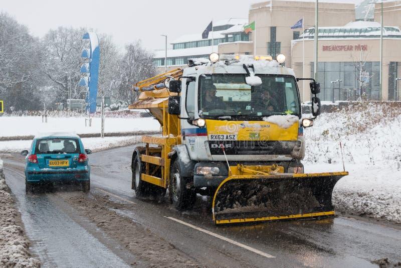 Brytyjska autostrada M1 podczas śnieżnej burzy fotografia royalty free