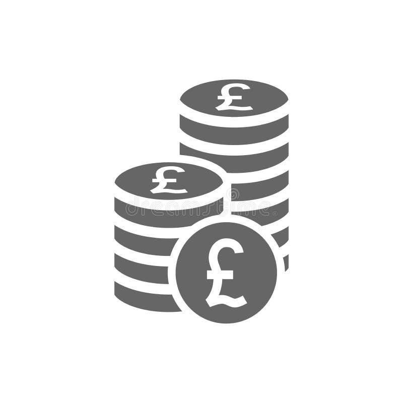 Brytyjska funtowej monety sterty ikona Monety brogują ikonę, stos funt monety ilustracji